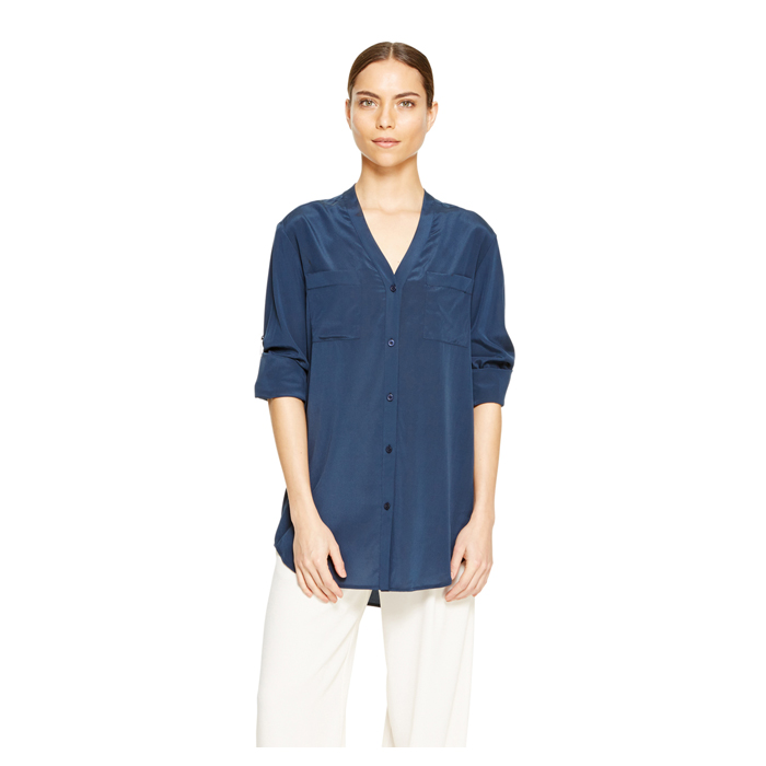 INK DKNY CREPE V-NECK SHIRT Outlet Online