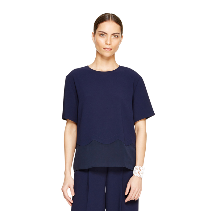 MIDNIGHT DKNY SCALLOP TRIM BLOUSE Outlet Online