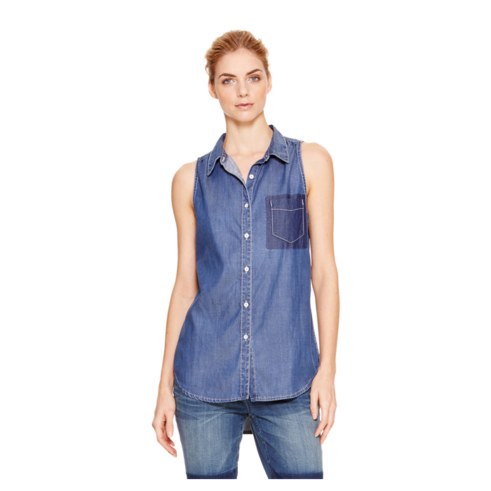 MEDIUM INDIG DKNY JEANS SLEEVELESS DENIM SHIRT Outlet Online
