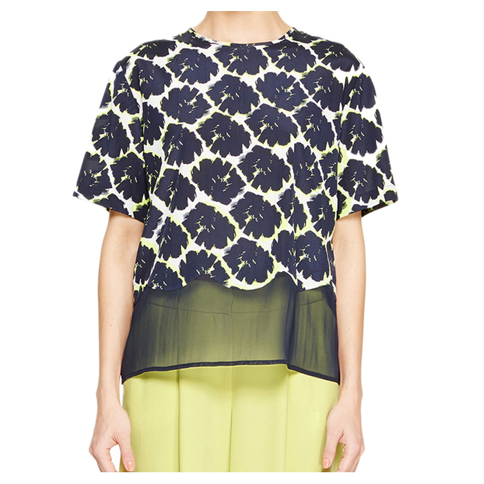 MIDNIGHT DKNY SHEER TRIM FLORAL BLOUSE Outlet Online