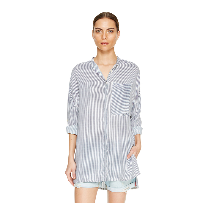 WHITE DKNY DKNYPURE STRIPE OVERSIZED SHIRT Outlet Online