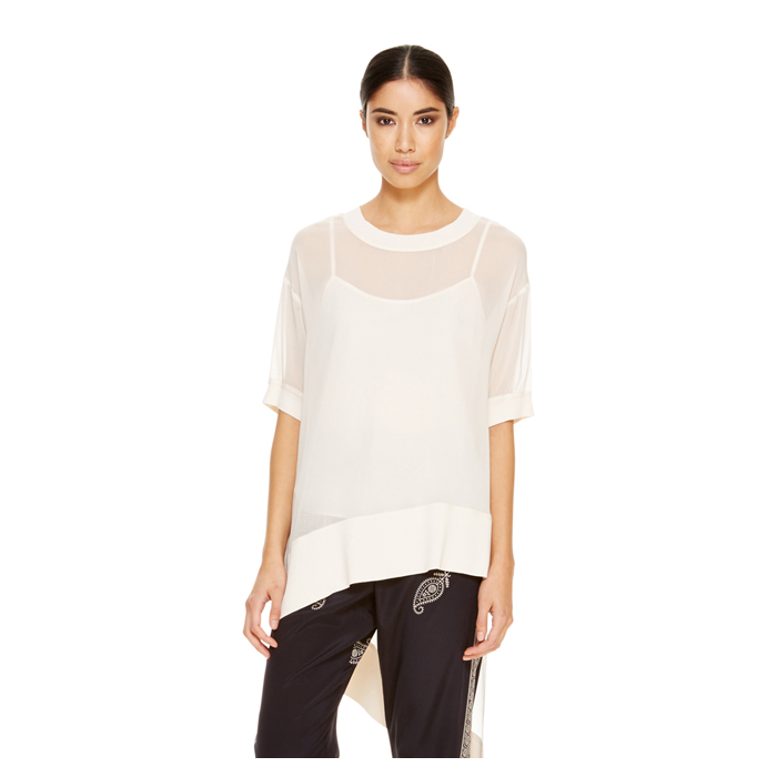 MUSLIN DKNY ASYMMETRICAL SHORT SLEEVE TUNIC Outlet Online