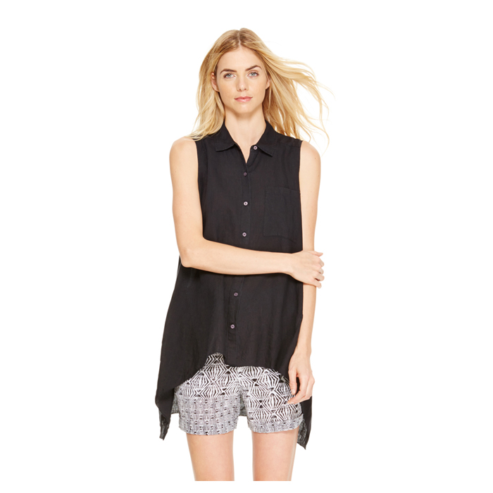 BLACK DKNY DKNYPURE HIGH LOW LINEN SHIRT Outlet Online