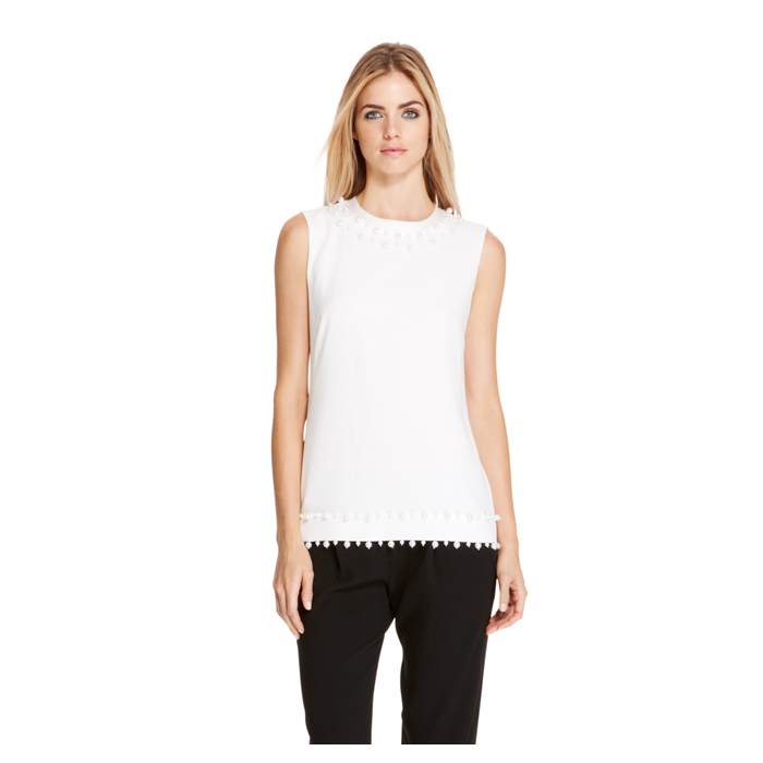 WHITE DKNY EMBELLISHED TOP Outlet Online