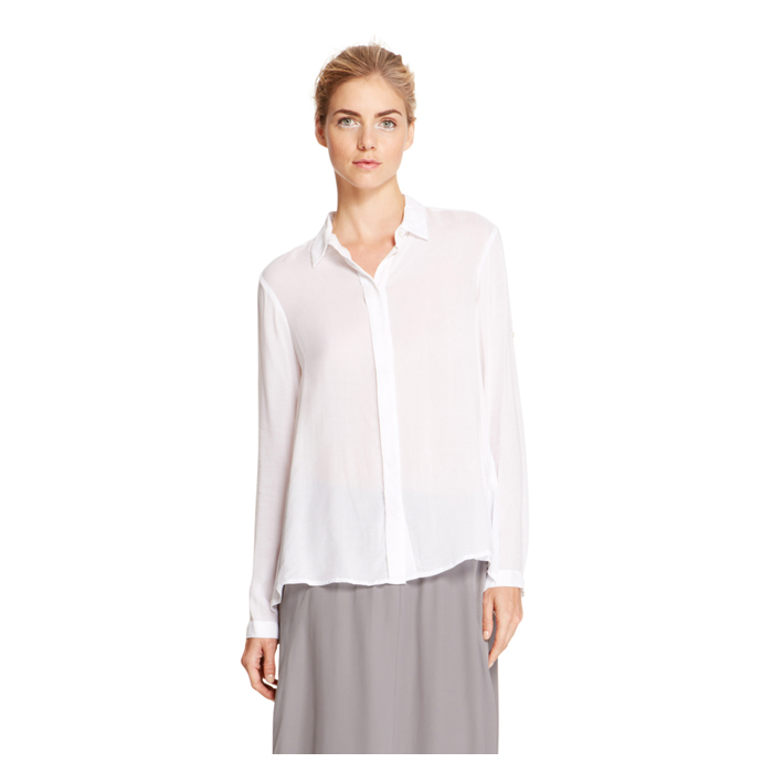 WHITE DKNY DKNYPURE VISCOSE BUTTON FRONT SHIRT Outlet Online
