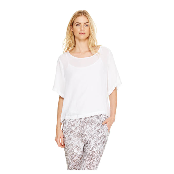 WHITE DKNY DKNYPURE ELBOW SLEEVE TEE Outlet Online