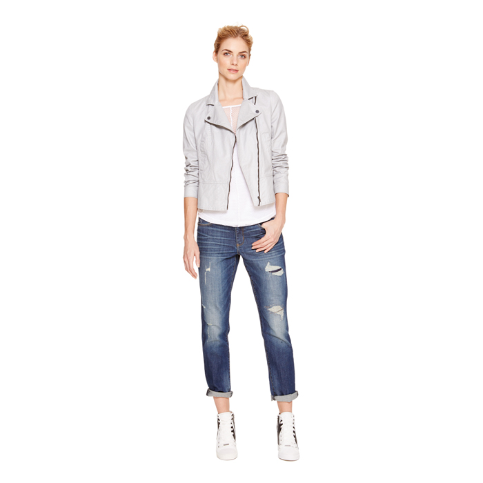 SILVER DKNY JEANS COATED MOTO JACKET Outlet Online