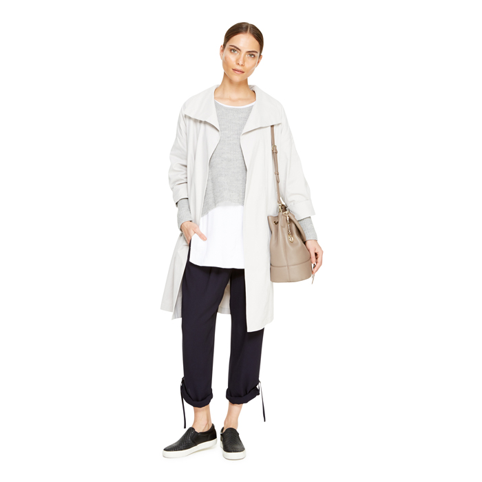 PALE GREY DKNY DKNYPURE DRAPE FRONT TRENCH COAT Outlet Online