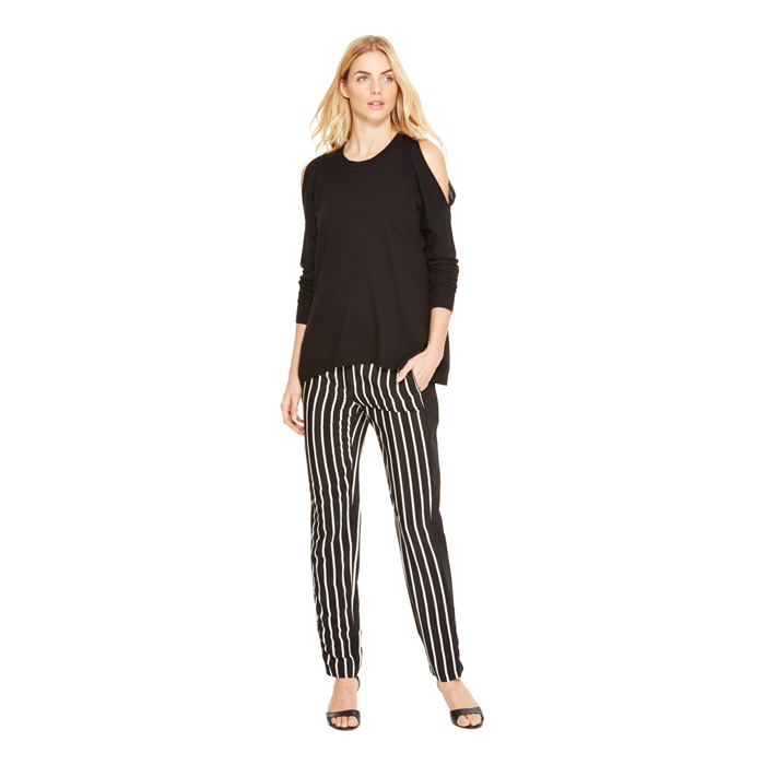 BLACK DKNY STRIPED SILK PANT Outlet Online