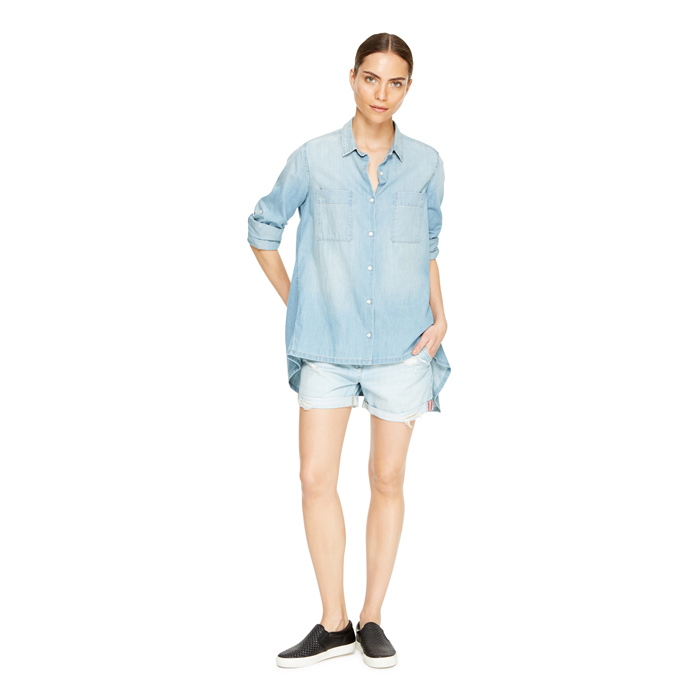 FADED INDIGO DKNY DKNYPURE DISTRESSED DENIM SHORTS Outlet Online