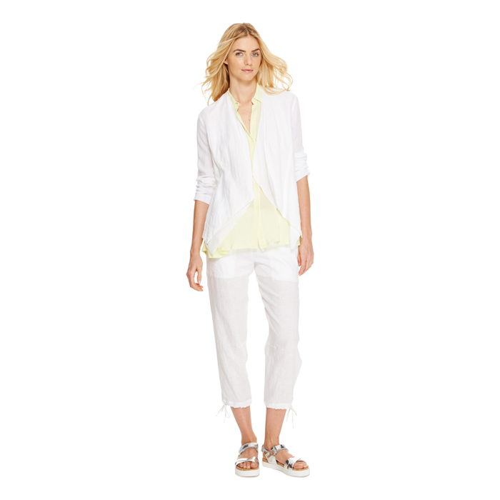WHITE DKNY DKNYPURE LINEN DRAWSTRING PANT Outlet Online