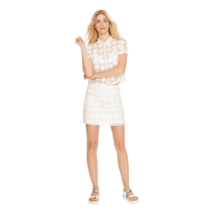 WHITE DKNY FLORAL MESH MINI SKIRT Outlet Online