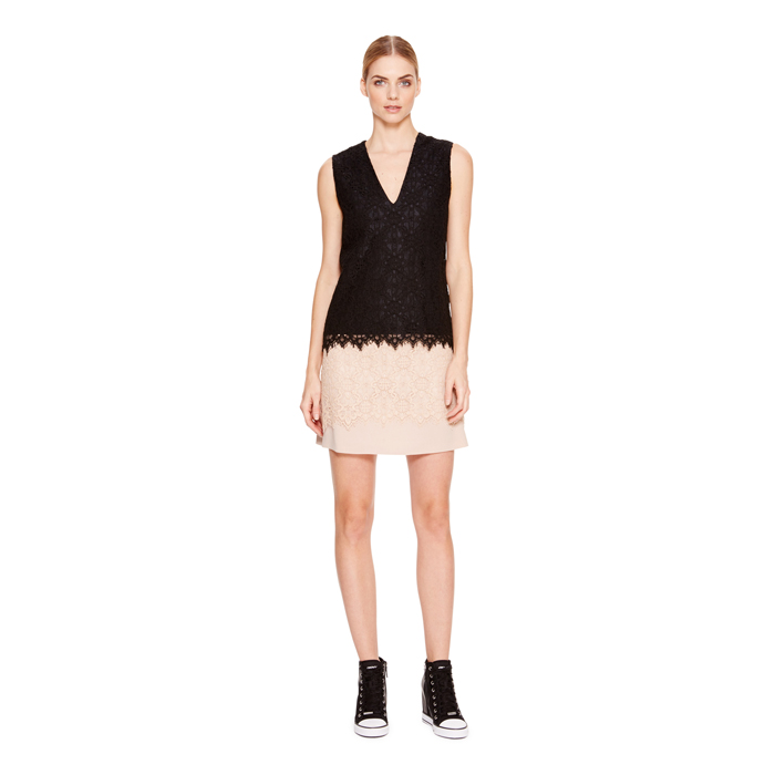 PALE POWDER DKNY LACE OVERLAY A-LINE SKIRT Outlet Online