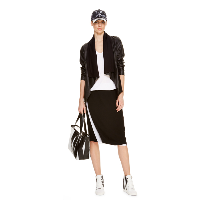 BLACK DKNY DKNYPURE CREPE FAUX WRAP SKIRT Outlet Online