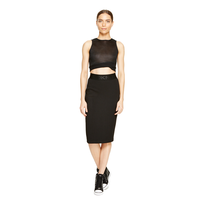 BLACK DKNY TEXTURED JERSEY PULL ON SKIRT Outlet Online