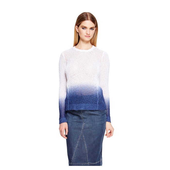 WHITE DKNY DKNYPURE DIP DYED PULLOVER Outlet Online