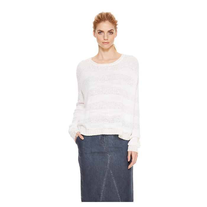 WHITE DKNY DKNYPURE NOVELTY STITCH PULLOVER Outlet Online