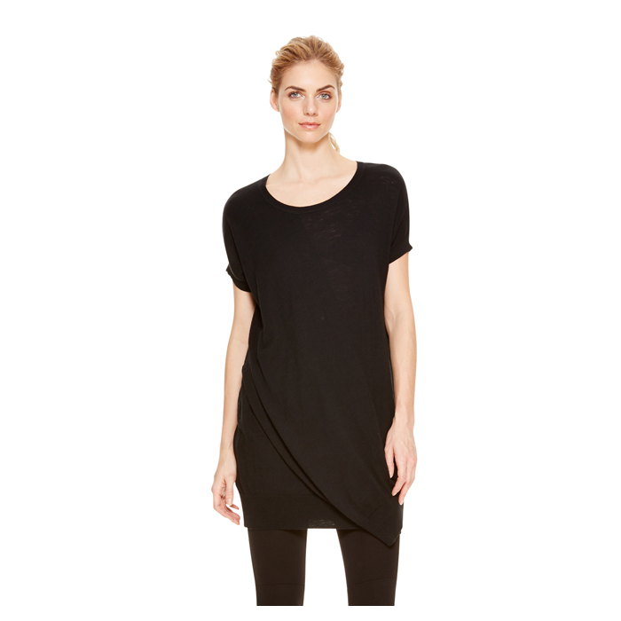 BLACK DKNY DKNYPURE FRONT OVERLAY COTTON TUNIC Outlet Online