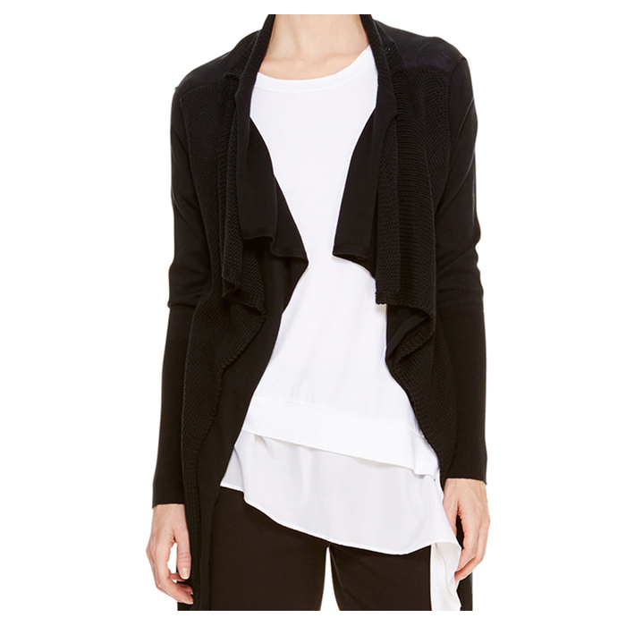 BLACK DKNY DKNYPURE DOUBLE LAYER CARDIGAN Outlet Online