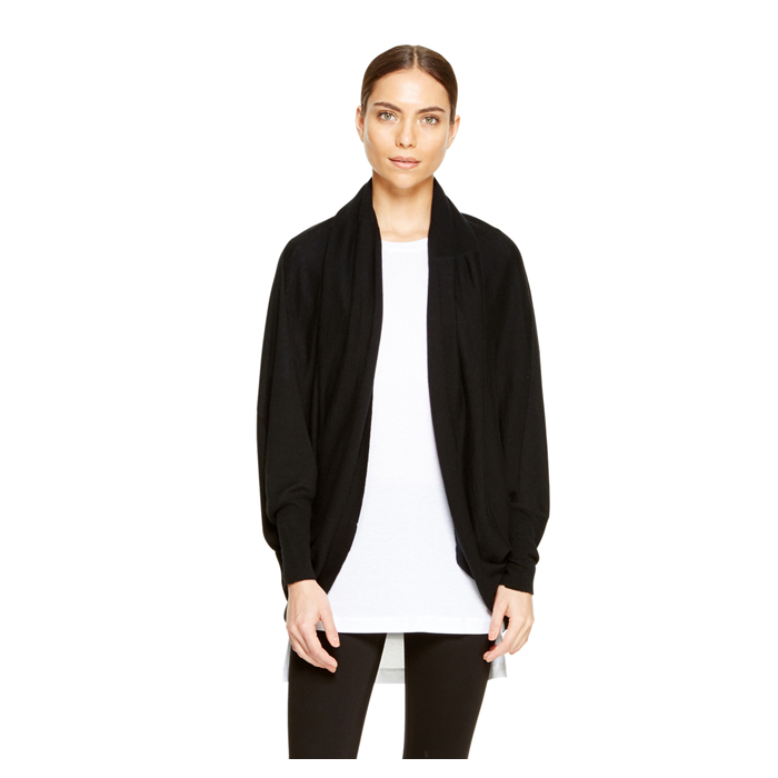 BLACK DKNY OPEN FRONT DRAMA CARDIGAN Outlet Online