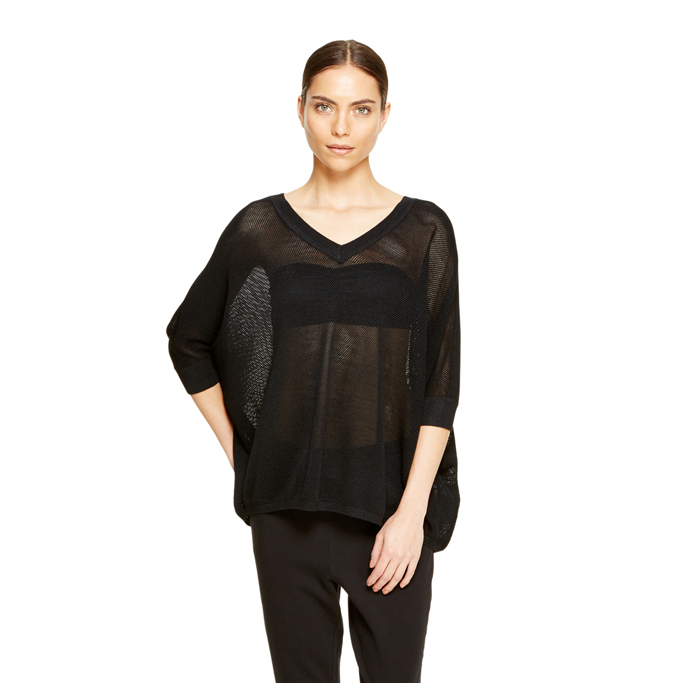 BLACK DKNY MESH STITCH PULLOVER Outlet Online