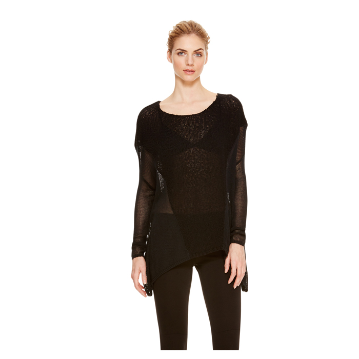 BLACK DKNY DKNYPURE CONTRAST STITCH PULLOVER Outlet Online