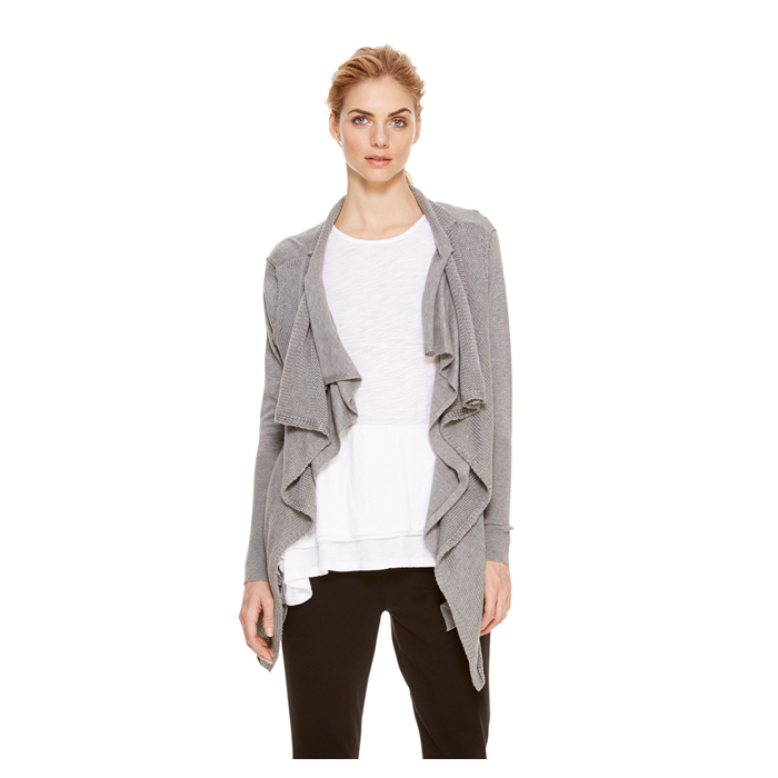 HEATHER GREY DKNY DKNYPURE DOUBLE LAYER CARDIGAN Outlet Online