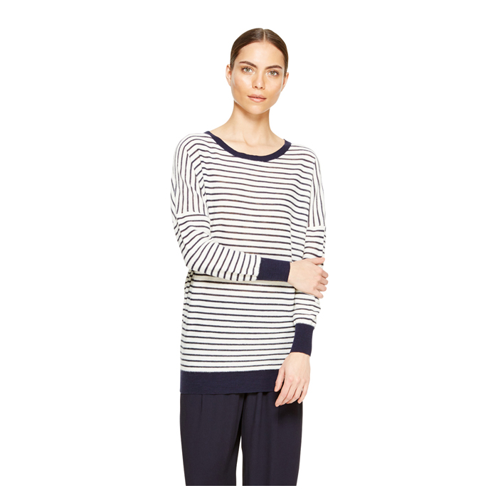 WHITE DKNY DKNYPURE STRIPE PULLOVER Outlet Online