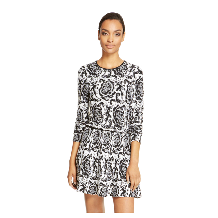 BLACK DKNY LACE JACQUARD PULLOVER Outlet Online