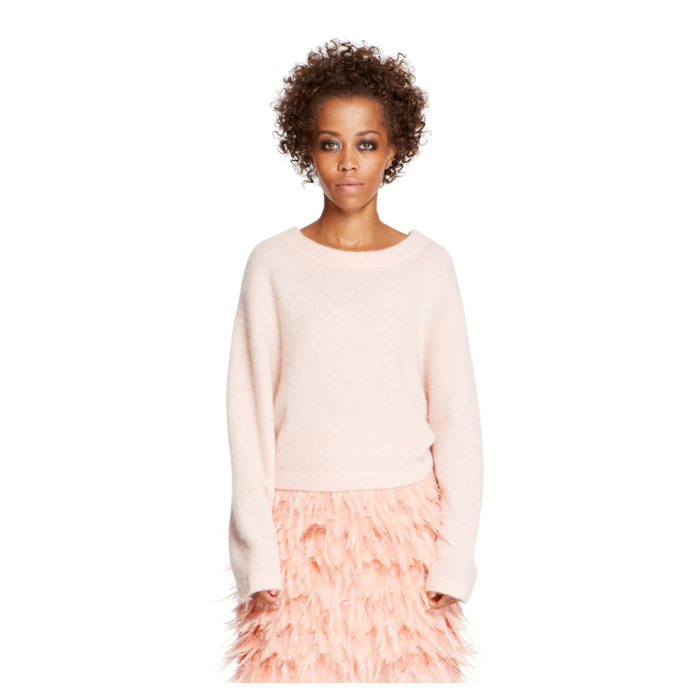 BLUSH DKNY CROPPED LONG SLEEVE PULLOVER Outlet Online