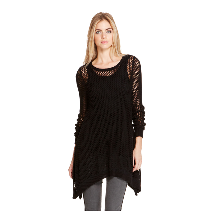 BLACK DKNY DKNYPURE COTTON TRAPEZE SWEATER Outlet Online