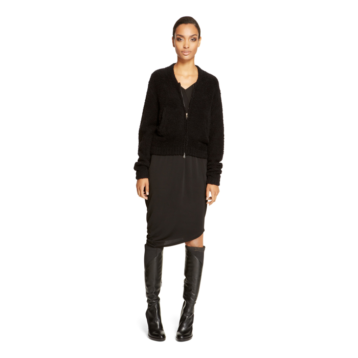 BLACK DKNY ZIP-UP WOOL JACKET Outlet Online