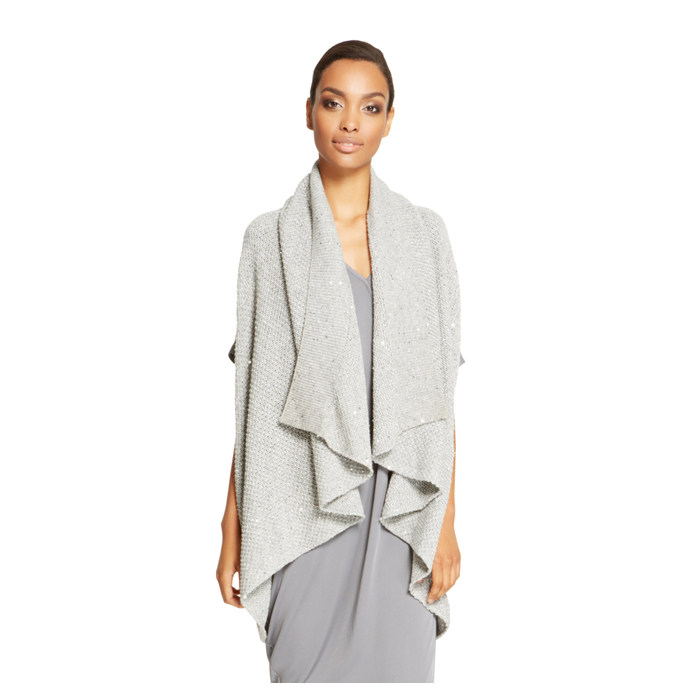 HEATHER GREY DKNY SEQUIN OPEN FRONT CARDIGAN Outlet Online