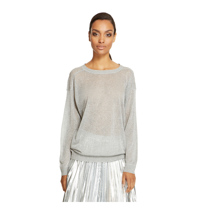 SILVER DKNY METALLIC LONG SLEEVE PULLOVER Outlet Online