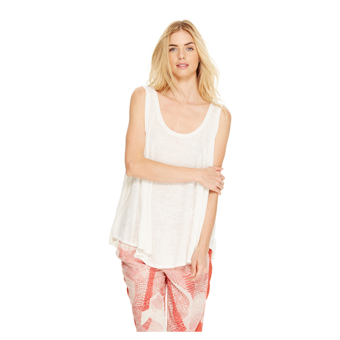 WHITE DKNY DKNYPURE LINEN DRAPEY TANK Outlet Online
