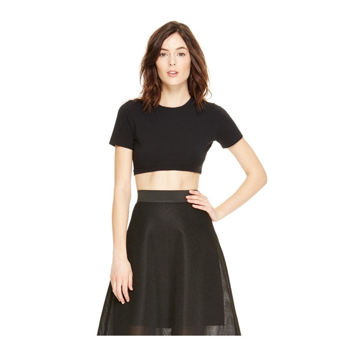 BLACK DKNY COTTON JERSEY CROP TEE Outlet Online