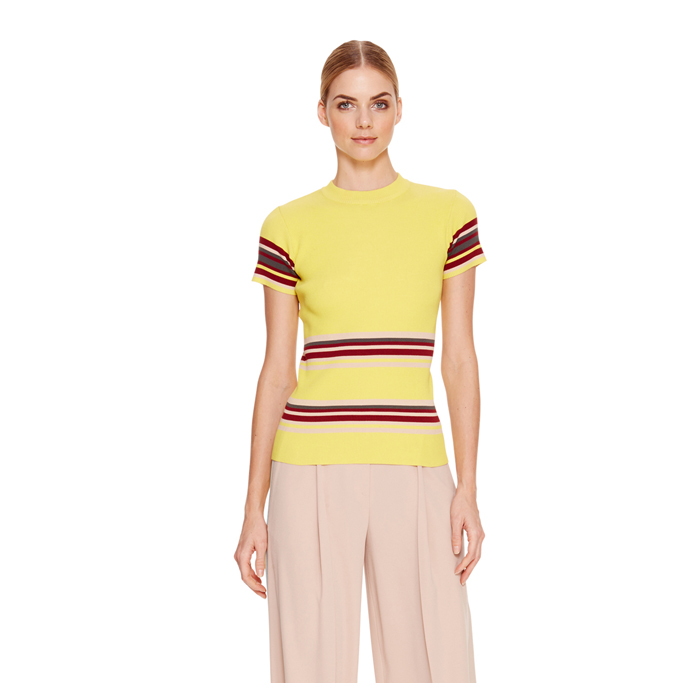LUX YELLOW DKNY COTTON STRIPED PULLOVER Outlet Online