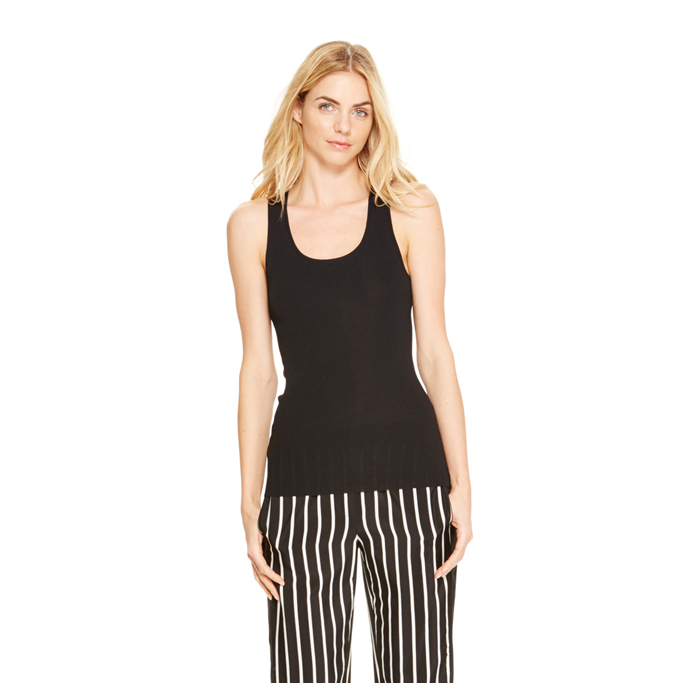 BLACK DKNY LUXE SCOOPNECK TANK Outlet Online