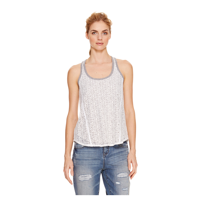 POLAR CREAM DKNY JEANS LACE LAYER TANK Outlet Online
