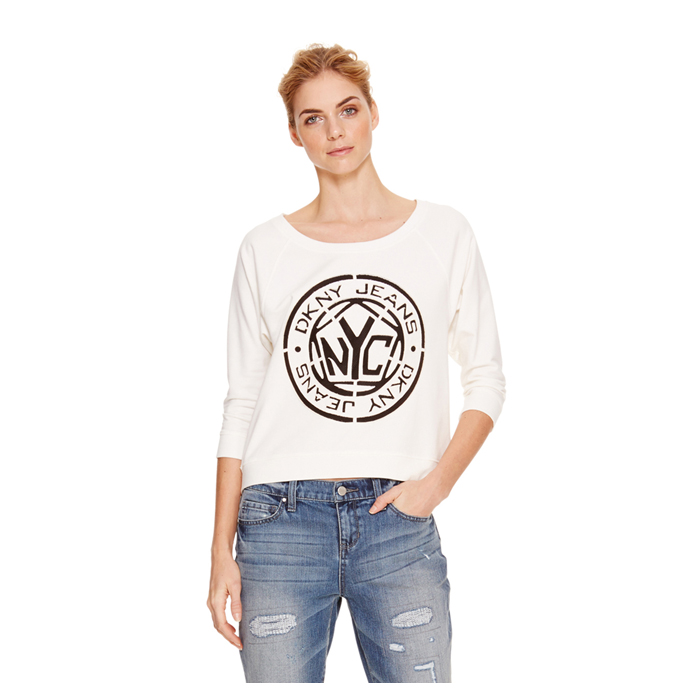WHITE DKNY JEANS LOGO SWEATSHIRT Outlet Online