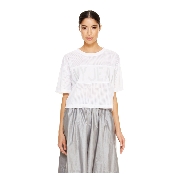 WHITE DKNY -INTERNATIONAL- JEANS CROPPED TEE Outlet Online