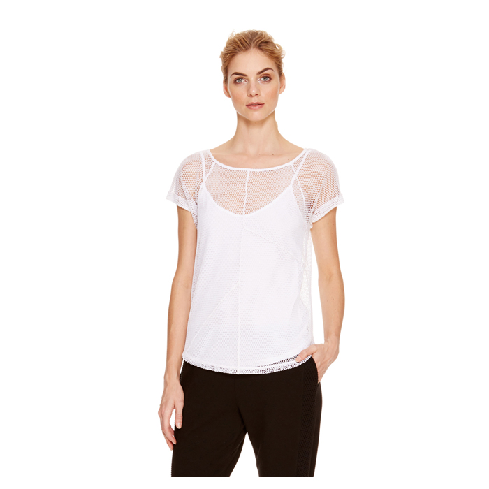 WHITE DKNY JEANS MESH TEE Outlet Online