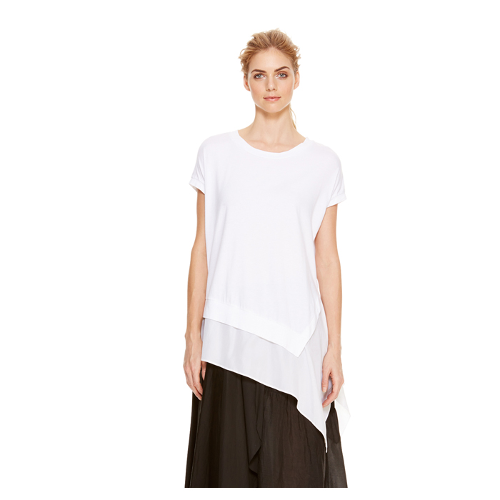 WHITE DKNY DKNYPURE SILK UNDERLAY TEE Outlet Online