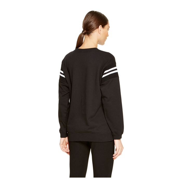 BLACK DKNY FRENCH TERRY V-NECK PULLOVER Outlet Online