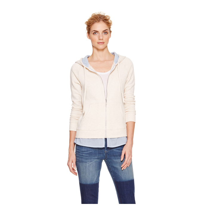 OATMEAL HTHR DKNY JEANS RUFFLE ZIP UP HOODIE Outlet Online