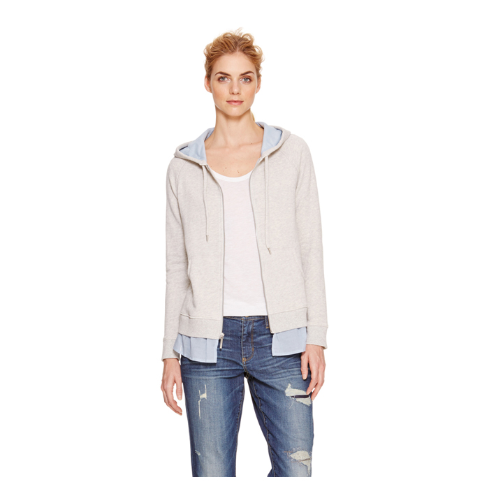 SMK GRY HTHR DKNY JEANS RUFFLE ZIP UP HOODIE Outlet Online