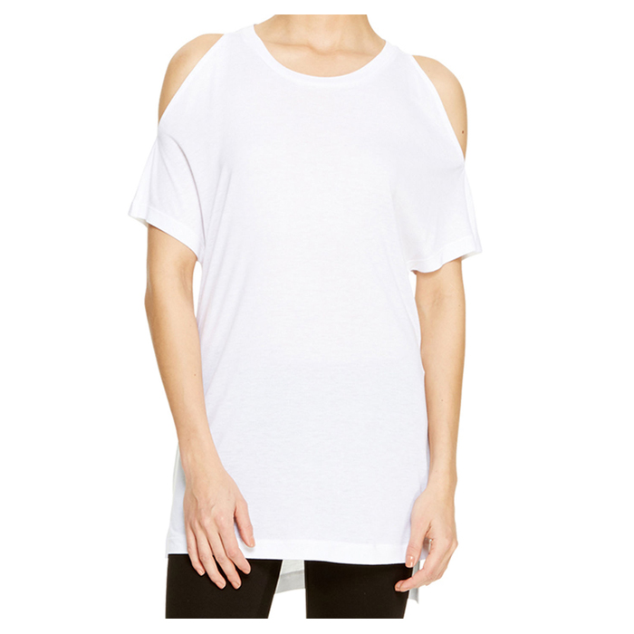 WHITE DKNY COLD SHOULDER JERSEY TEE Outlet Online