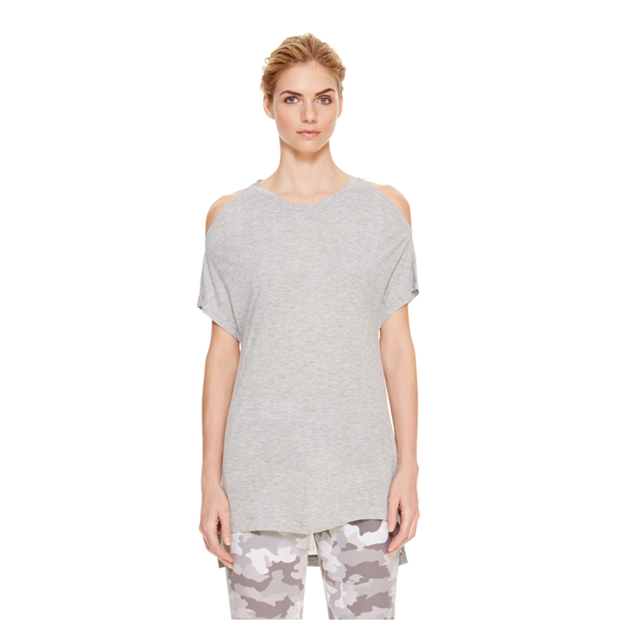 HEATHER GREY DKNY COLD SHOULDER JERSEY TEE Outlet Online