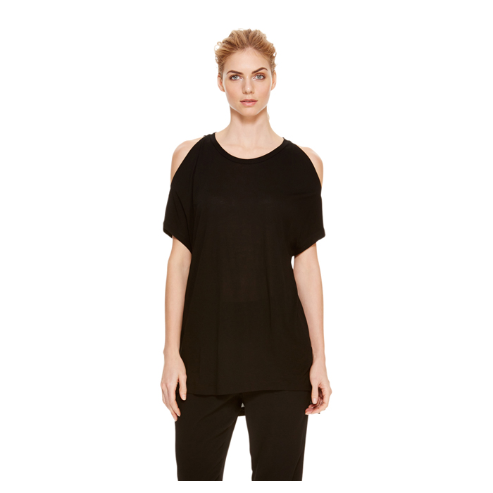 BLACK DKNY COLD SHOULDER JERSEY TEE Outlet Online