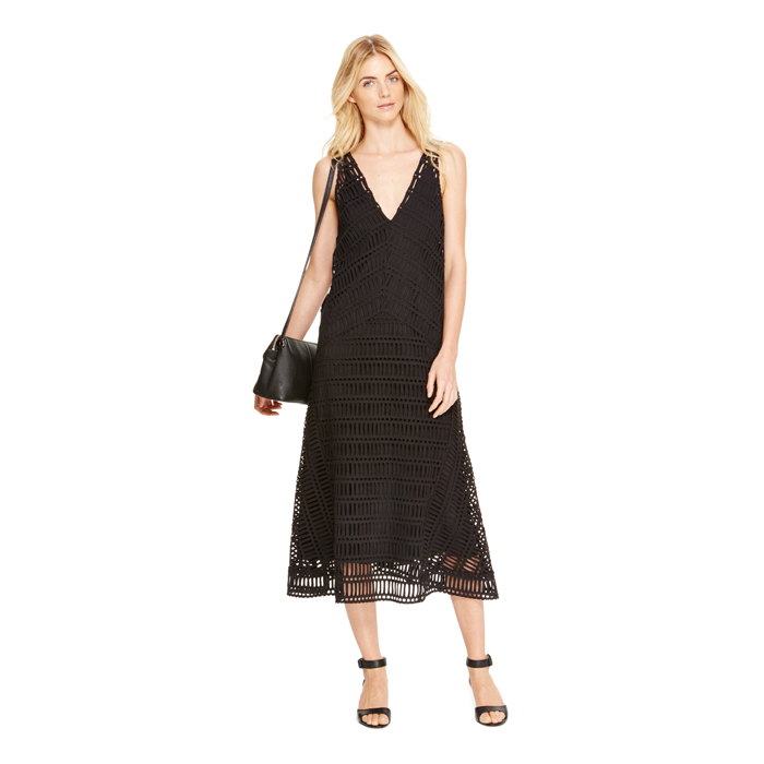 BLACK DKNY EMBROIDERED SLEEVELESS DRESS Outlet Online